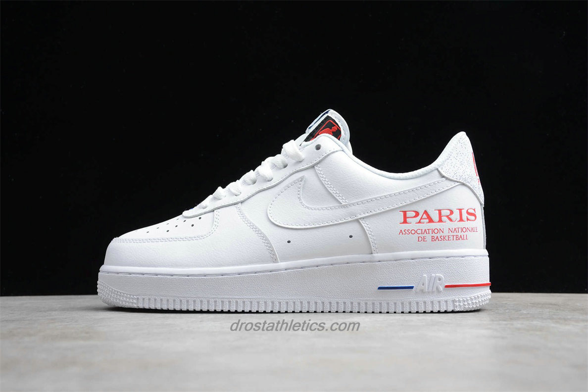 2020 Nike Air Force 1 07 LV8 NBA Paris Low CW2367 100 Unisex White / Red Street Shoes