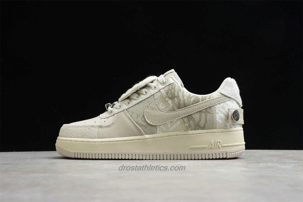 2020 Nike Air Force 1 Cactus Jack Low CN2405 902 Unisex Beige / Light Grey Street Shoes