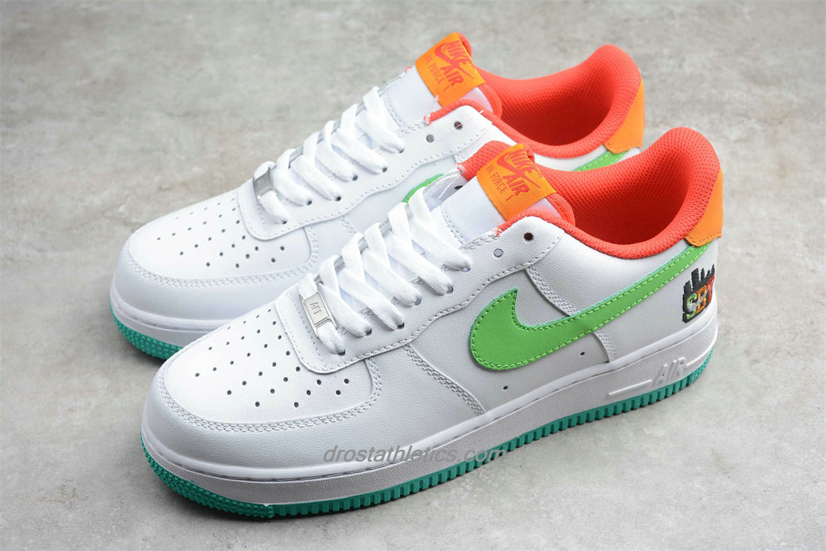 Nike Air Force 1 Low 07 LE C07506 146 Unisex White / Green / Orange Fashion Sneakers