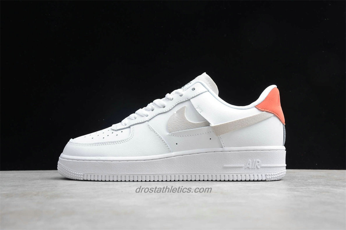 Nike Air Force 1 07 Low LX 898889103 Unisex White / Orange Fashion Sneakers