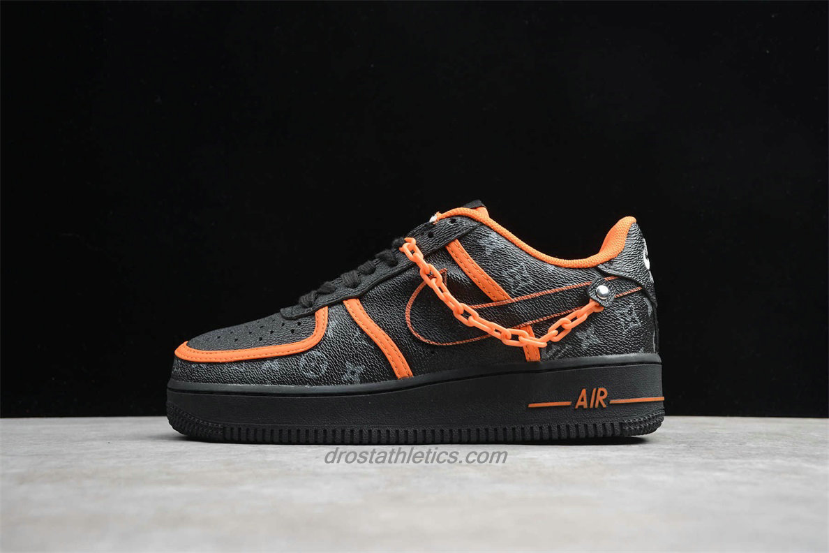 Nike Air Force 1 Low 07 SE AQ4211 100 Unisex Black / Orange Fashion Sneakers