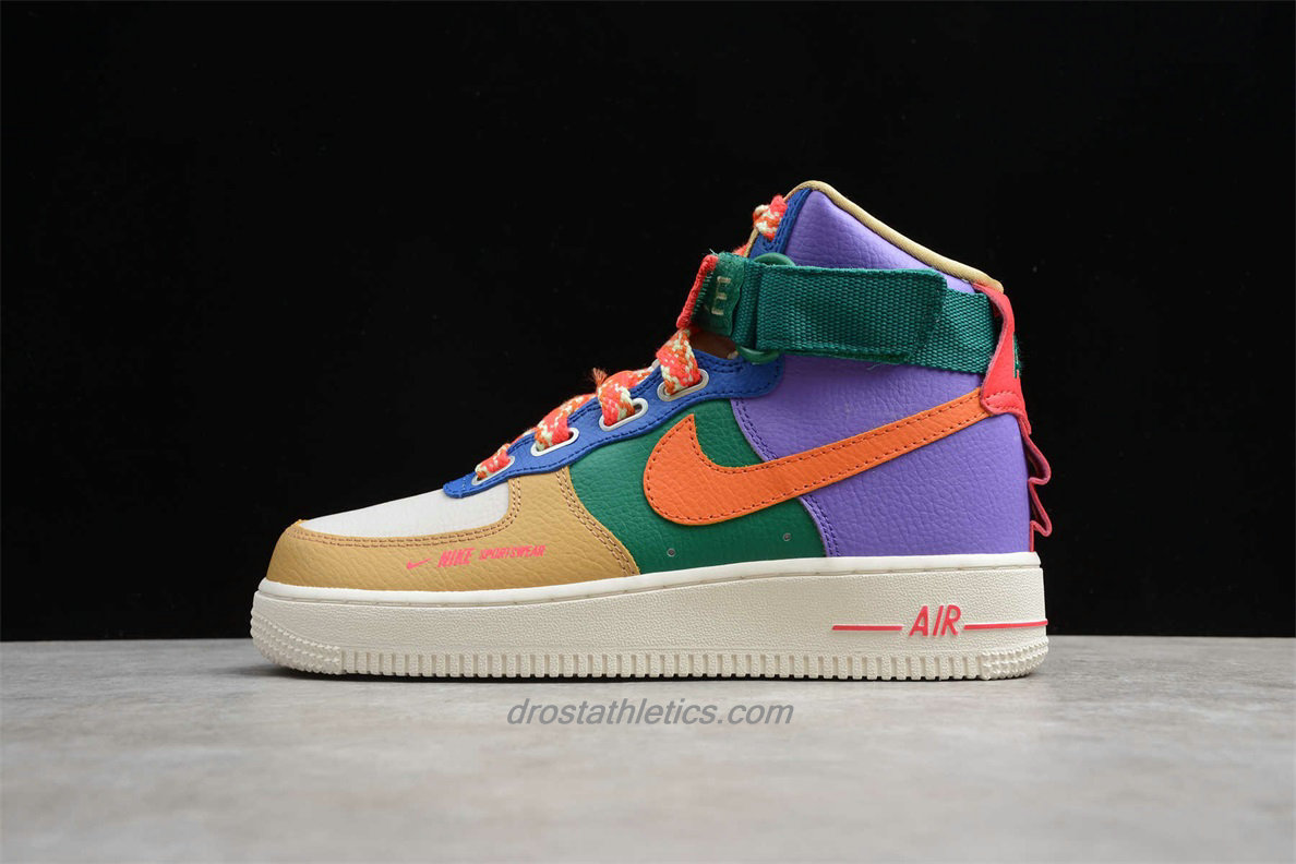 Nike Air Force 1 HI UT CQ4810 046 Unisex Khaki / White / Green / Purple Lifestyle Shoes