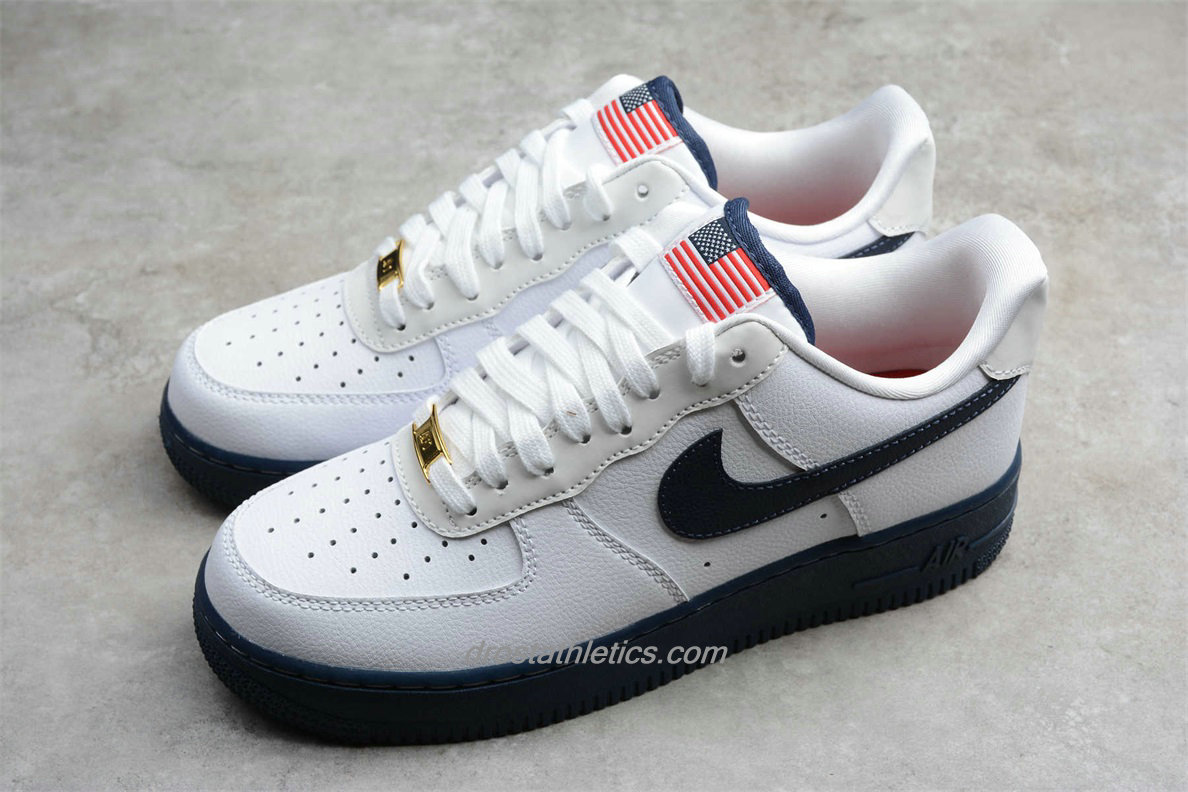 Nike Air Force 1 Low 07 LV8 CK5718 100 Unisex White / Navy Blue Fashion Sneakers