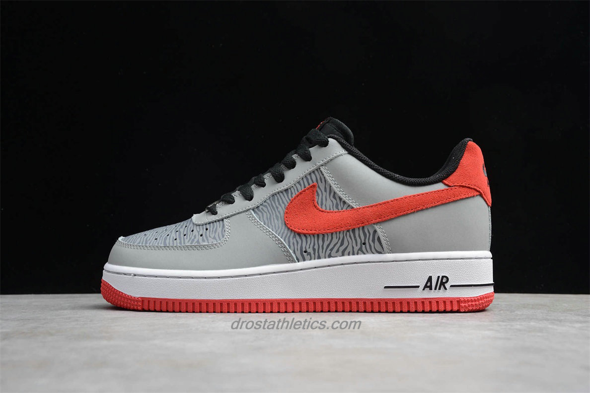 Nike Air Force 1 Low 488298072 Men's Grey / Black / Red Fashion Sneakers