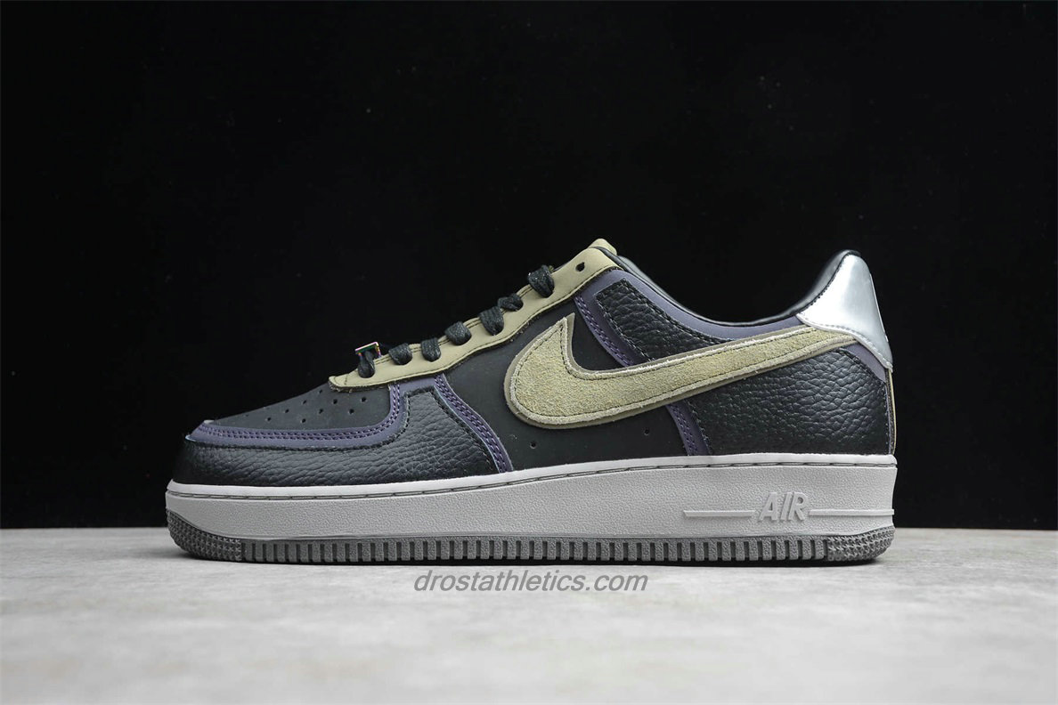 Nike Air Force 1 Low CQ1087 001 Men's Black / Purple / Khaki Fashion Sneakers