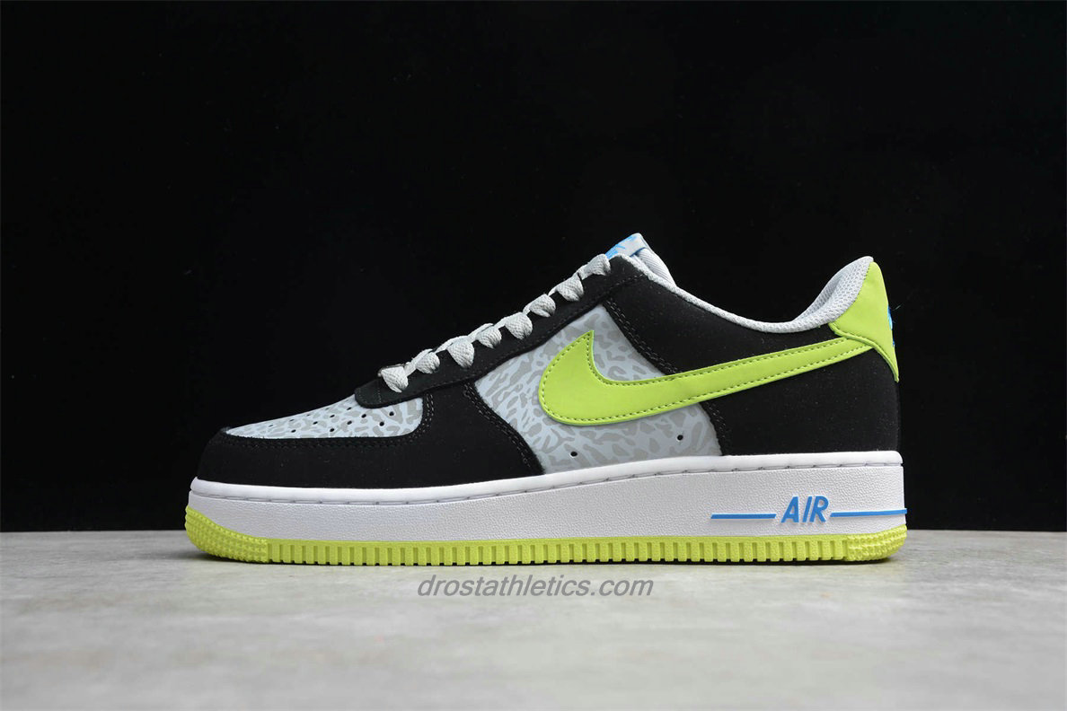 Nike Air Force 1 Low 488298077 Unisex Black / Grey / Green Fashion Sneakers